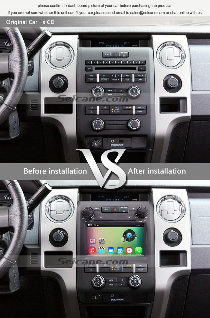 OEM 1024*600 touchscreen 2009 2010 2011 2012 Ford F150 F250 F350 Expedition  before installation vs after installation