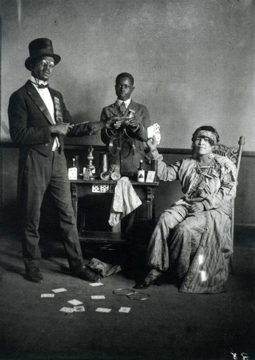"""Black magician and his assistants. From the book """"A True Likeness: The Black South of Richard Samuel Roberts 1920-1936."""" Credit: South Carolina ETV."""