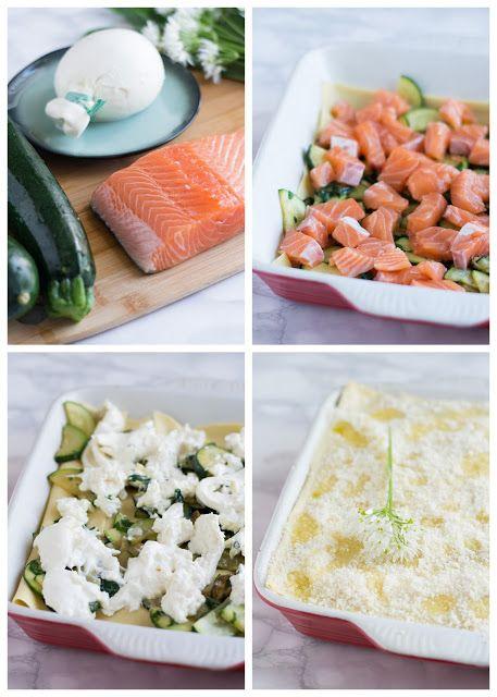 Lasagnes courgettes, saumon et burrata