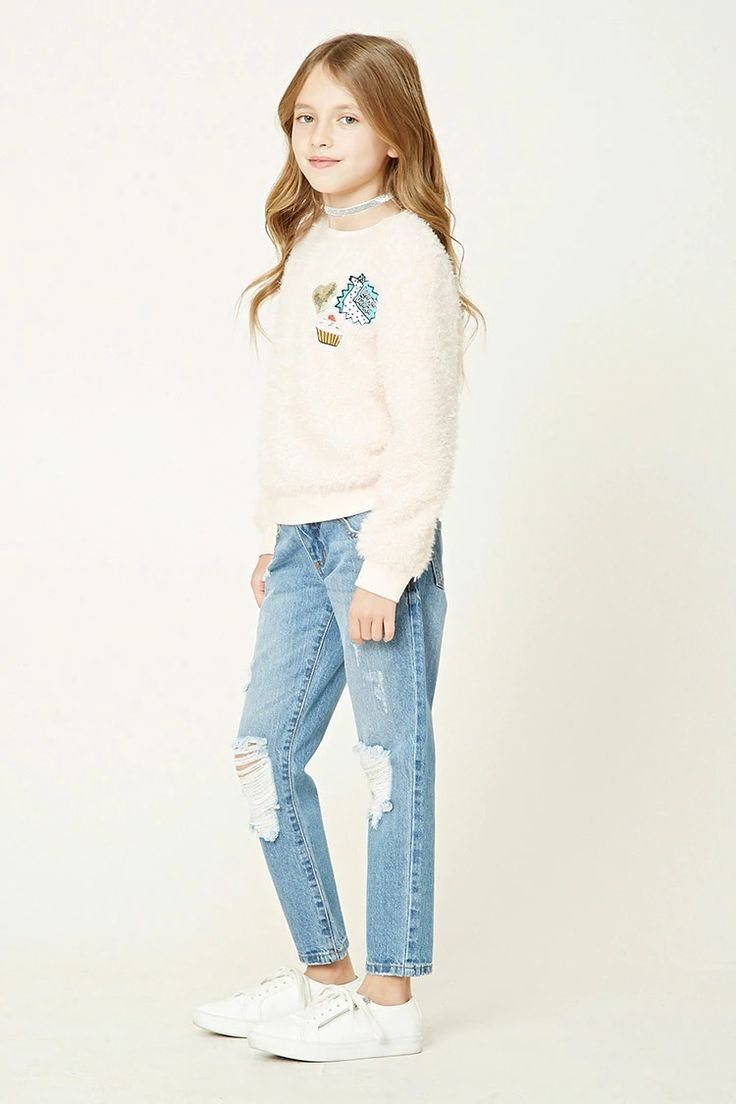 Forever 21 Girls - A pair of girlfriend jeans featuring a distressed design, five-pocket construction, and a zip fly.