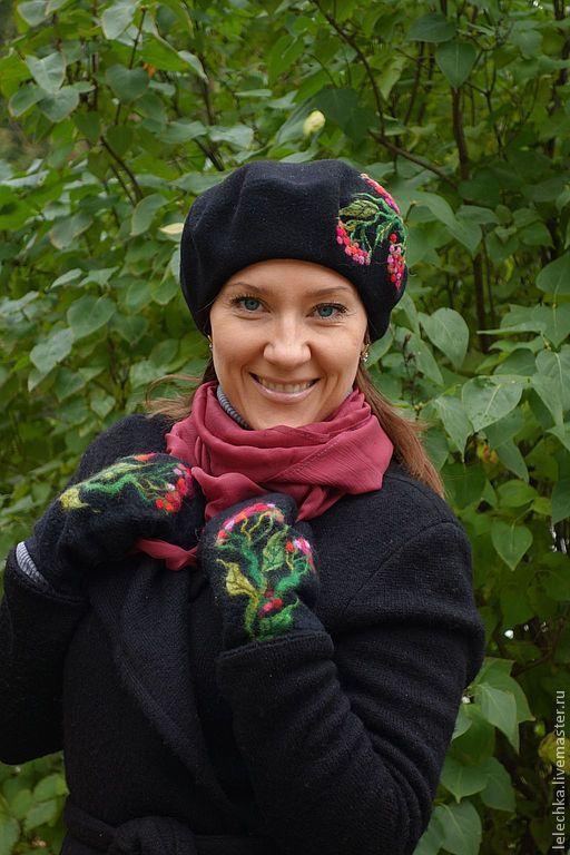 """Купить Берет """"Рябина"""" - цветочный, Рябина, осень, берет, головной убор, женская шапка"""