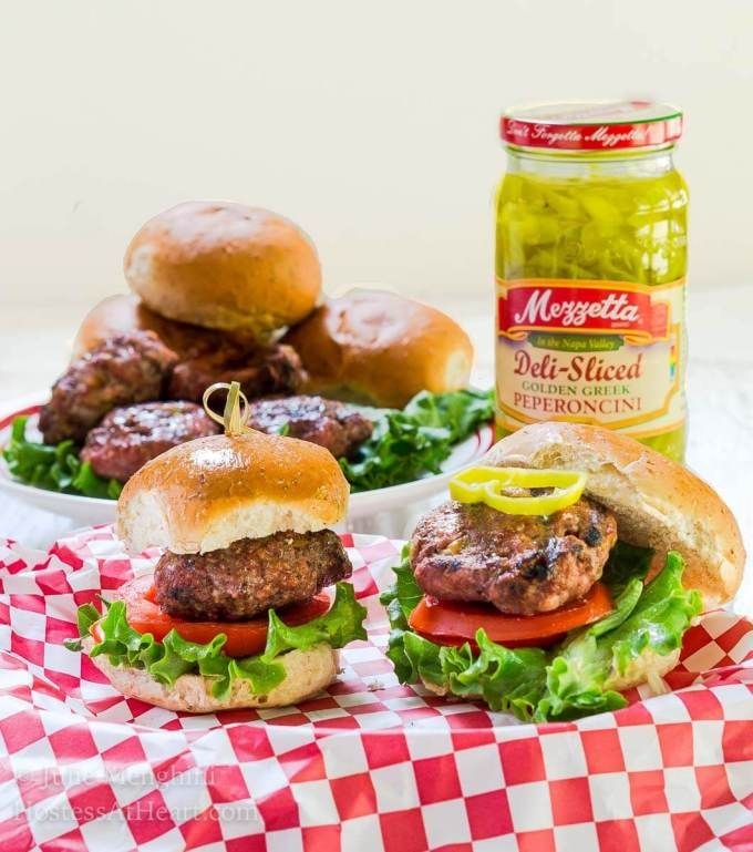 Pork and Beef Sliders with Pepper Jack and Peperoncini | Hostess At Heart