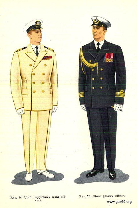 1961 Polish People's Navy fleet officers' summer dress uniforms.
