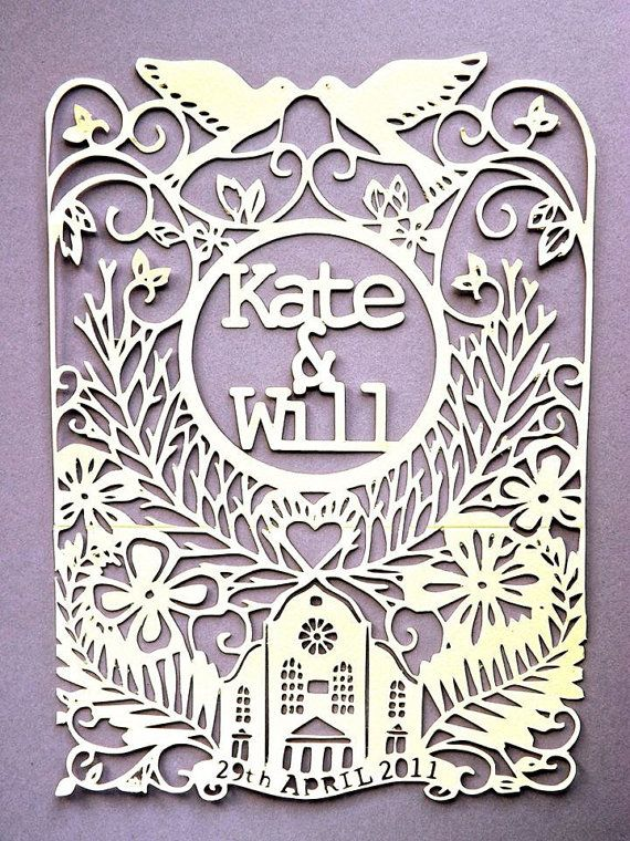 Personalised intricate paper cut wedding invitation (pack of 80)