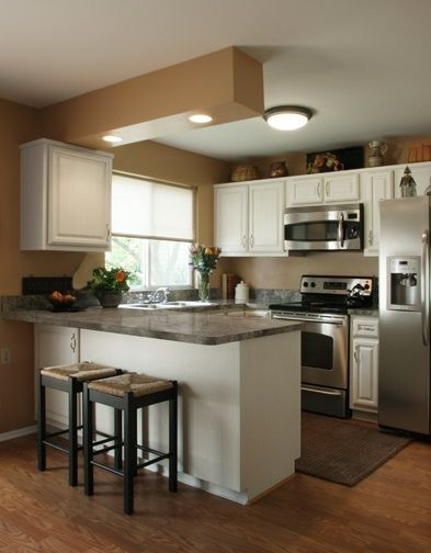 a u shaped kitchen but could be crossed over to galley love the white and - U Shaped Kitchen Remodel