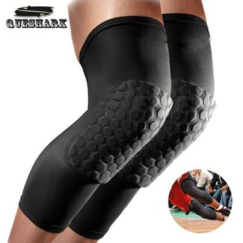 Queshark 1Pc Cycling Long Leg Sleeves/Warmers Basketball Kneepads Honeycomb Football Knee Pads Riding Leggings Protective gear