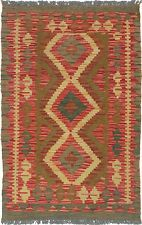 "Hand woven Turkish Carpet 2'6"" x 3'11"" Anatolian Kilim Wool Rug...LOW PRICE !"