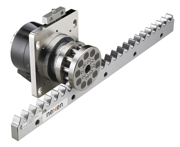 This roller-pinion system from Nexen Group acts a cam and follower. Description from motioncontroltips.com. I searched for this on bing.com/images