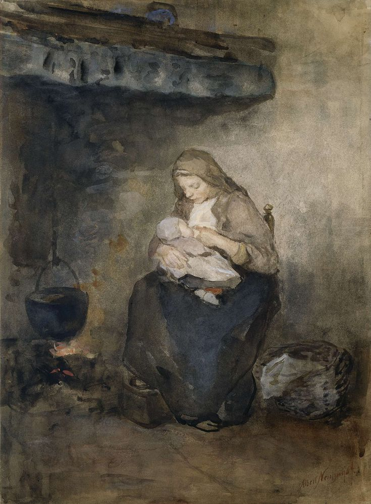 Moeder zoogt haar kind bij de haard, Albert Neuhuys, 1854 - 1914