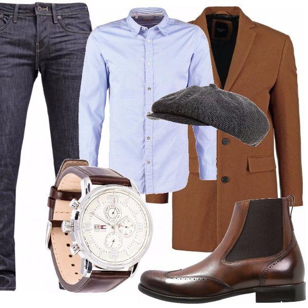 Questo look lo vedo indossato per un uomo, english style, ma in Italia, quindi: jeans blu scuro, camicia azzurra, cappottino monopetto in marrone cioccolato, chelsea boots tabacco ed un cappello che da quello stile in più ;)