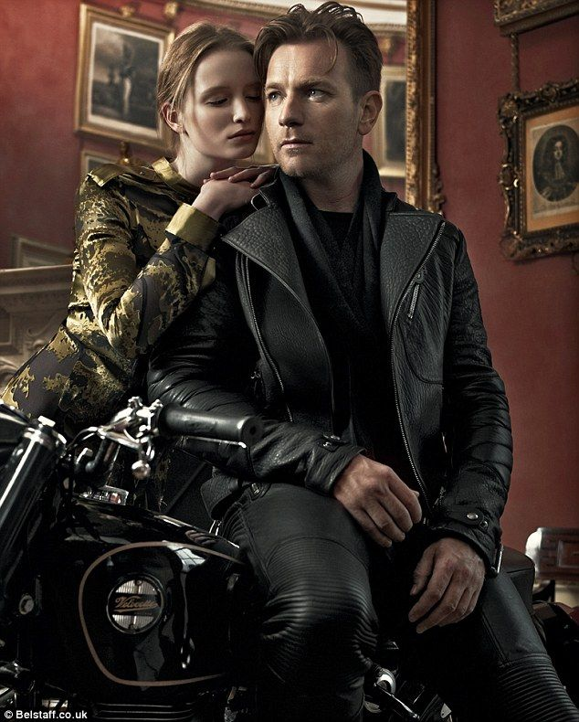 Belt up: Ewan is a massive motorcycle fan and was the natural choice to model the British brand