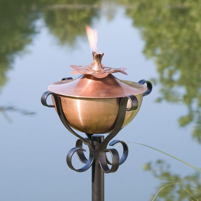 Water Lily Copper Garden Torch with Scroll Yard Stake - Antique Copper