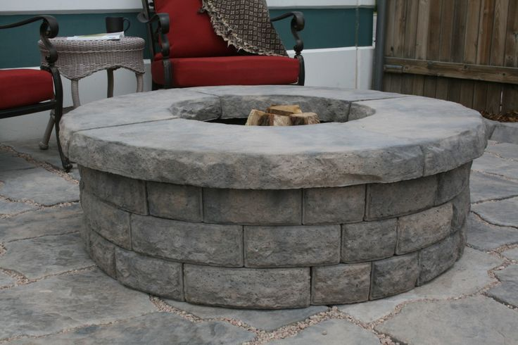 Round fire pit stonebilt concepts backyard pinterest for Prefab fire pits