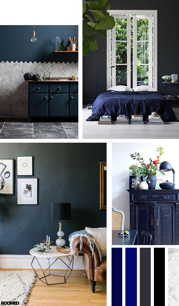 Colorboost: een chic interieur met antraciet en donkerblauw - Roomed