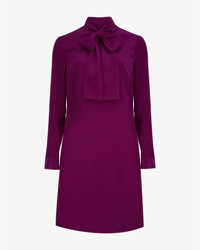 Silk pussy bow dress - Mid Purple | Dresses | Ted Baker UK