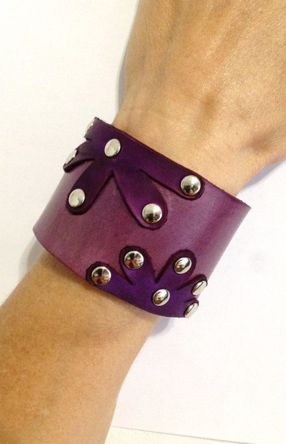 Purple Leather Flowers on Lavender Leather by ChristyKeysCreations, $24.00