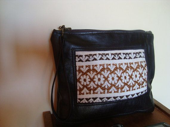 Leather Clutch/ Pouch/ dark brown recycled leather by BagsBand