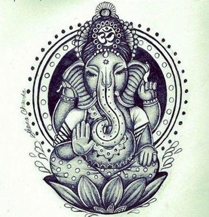 Tatuajes de Genesha, uno de los dioses más conocidos del hinduismo. Con cabeza de elefante y cuerpo humano, es un dios considerado de la buena suerte y la