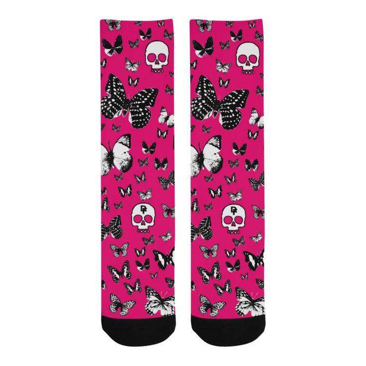 Skulls & Butterflies Knee-High Socks
