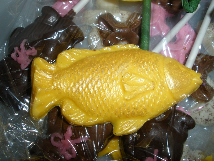 Big chocolate fish for the men at the party.  I guilded them with edible gold.