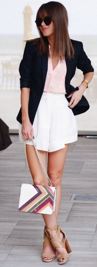 #fall #street #style | Black and White + Pop Of Blush