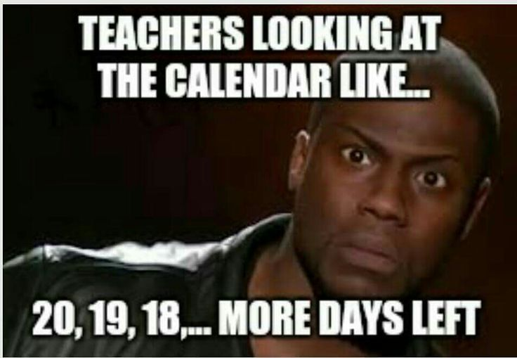 A teacher's face when... he looks at the calendar and there are 20, 19, 18, ... more days to go.