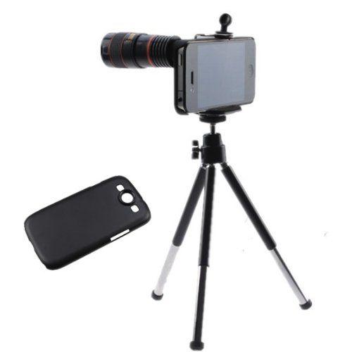 agptek 8x optical zoom telescope lens black kit with