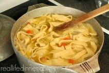 This Five Minute Homemade Egg Noodle Recipe is the BOMB! It really only takes five minutes and turns your chicken noodle soup into THE BEST CHICKEN NOODLE SOUP EVER! ~ http://reallifedinner.com