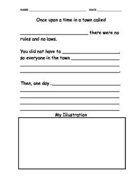 Worksheet where students can make laws and rules for a town they created and draw a picture describing what the town looks like now.
