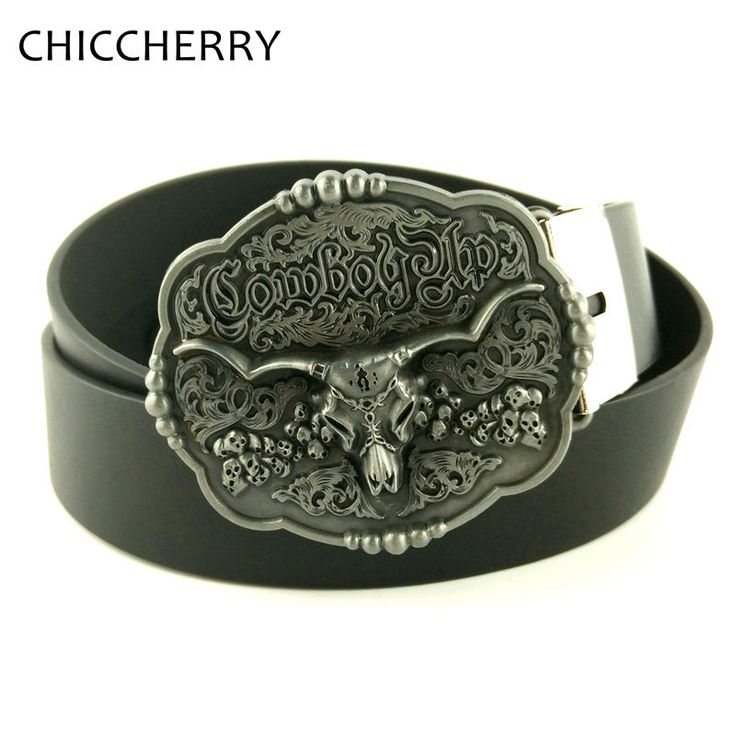 Mens PU Leather Belts Vintage Flower Decoration Silver Bull Western Cowboys Belt Buckles Gifts For Men Jeans Hebilla De Cinturon