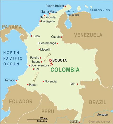 Colombia map.