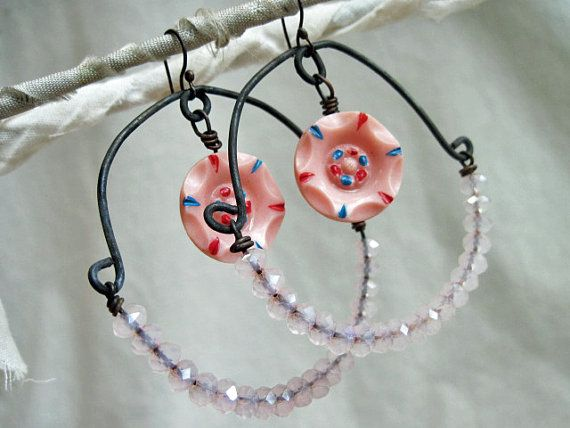 Whether a Mote or a Star. Pink Shabby Chic Vintage Button Earrings.