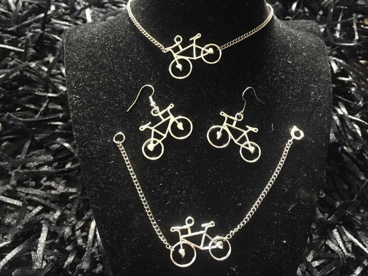 Silver plated Bicycle jewelry set-  -Cyclist Gift-  Bicycle earrings - Bicycle necklace-Bicycle bracelet by pacforme on Etsy