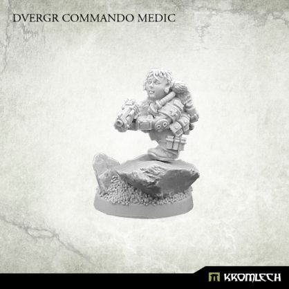 This set contains one high quality resin model of Dvergr Commando Medic. One 25mm round plastic bases included. Designed to fit 28mm heroic scale wargames. Resin base from pictures is not included