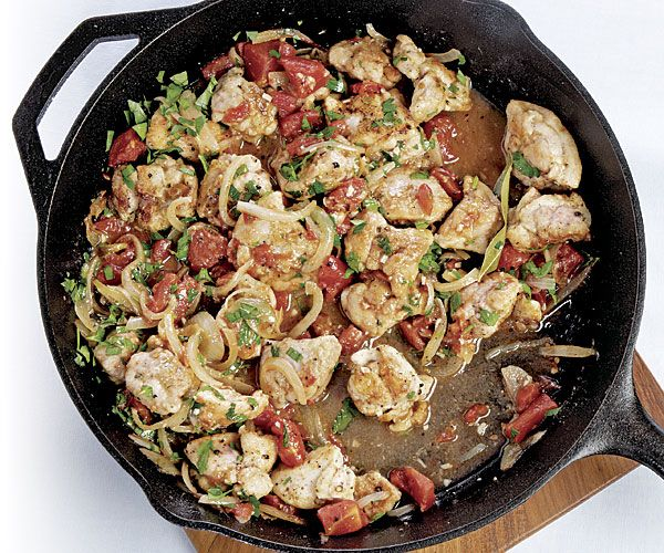 Slideshow with Recipes: Cozy One-Pot Meal Dinners [pictured: Chicken Braised with Red Wine Vinegar  & Tomatoes]