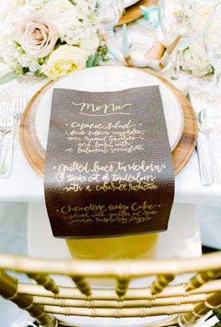 Каллиграфия на свадьбе, свадебное меню