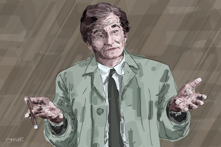 Columbo illustration detective art by Nada Rysankova digital, painting