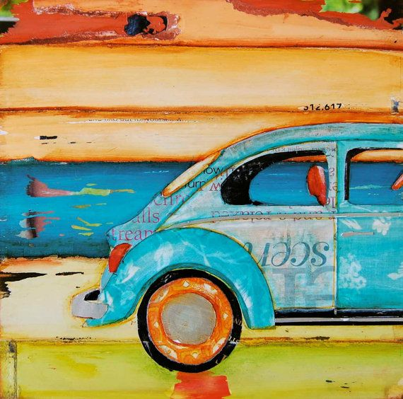 Volkswagen Vw Bug at Beach Just Roll with It by dannyphillipsart, $10.00