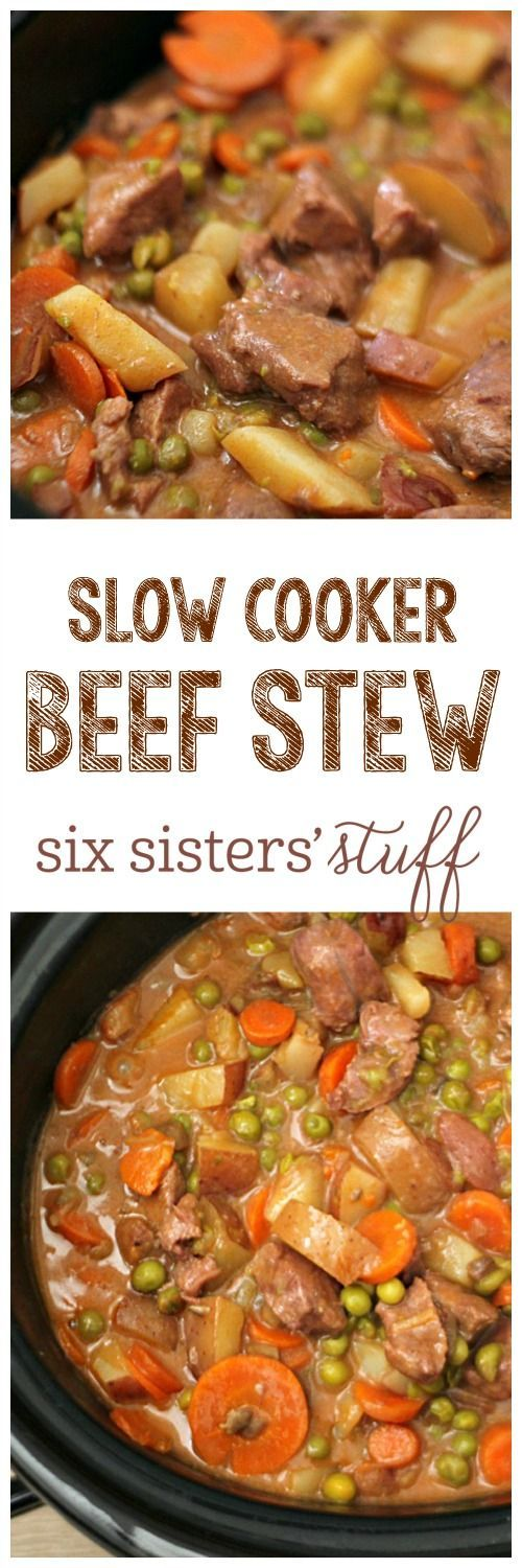 * Slow Cooker Beef Stew on SixSistersStuff.com - this is a family favorite! This was delish. Cooked on high for 5 hours. Used sirloin roast. And added 1.5 cups water.