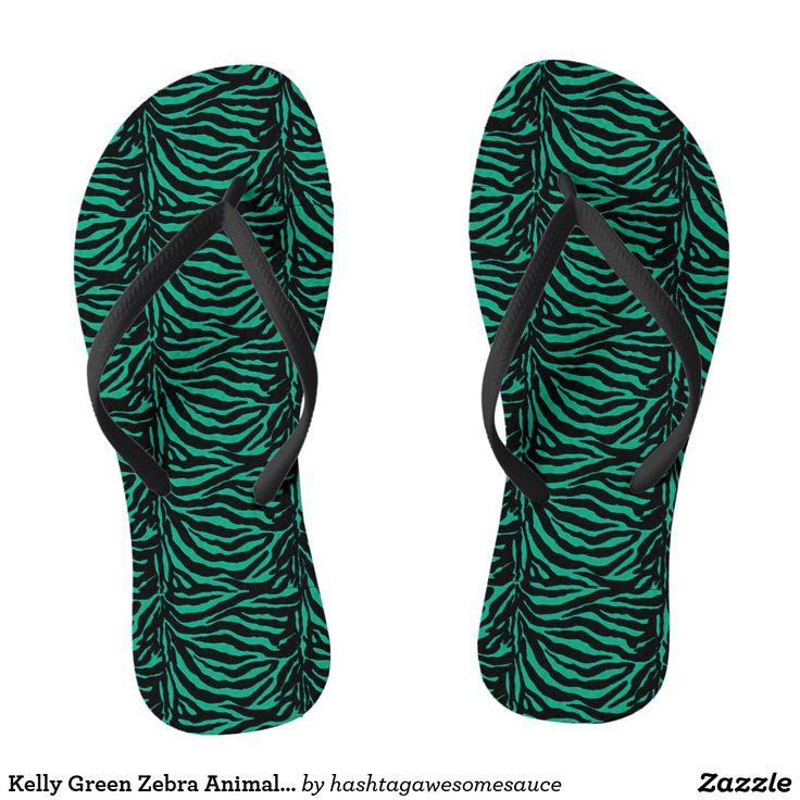 Kelly Green Zebra Animal Print Flip Flops