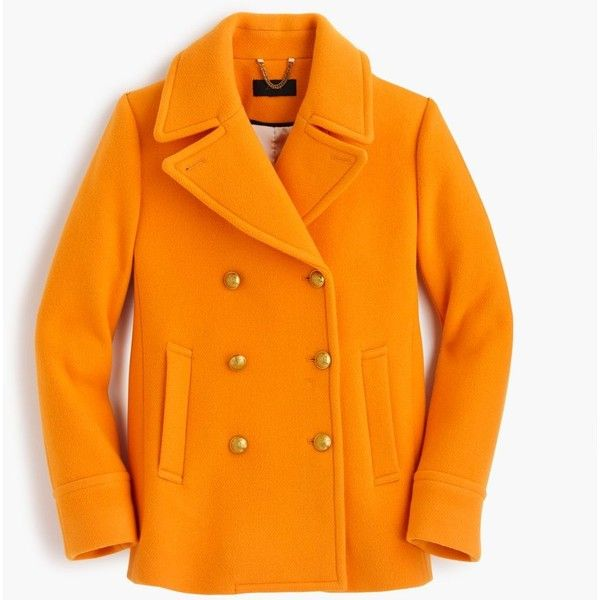 J.Crew Majesty Peacoat ($390) ❤ liked on Polyvore featuring outerwear, coats, leather-sleeve coats, wool coat, lined pea coat, fur-lined coats and orange pea coat