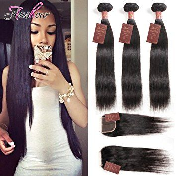 Straight Hair 3 Bundles with Closure 100% Unprocessed Virgin Human Hair Weave Extensions with Free Part… Review