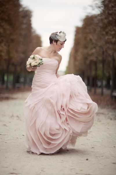 Vera Wang For Davids Bridal Pink Ruffled Wedding Dress Photo By Unplugged Photography