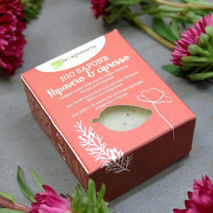 Zart duftende Bio Seife für Naturliebhaber - mit Mohn und Zypresse. Tierversuchsfrei & vegan!