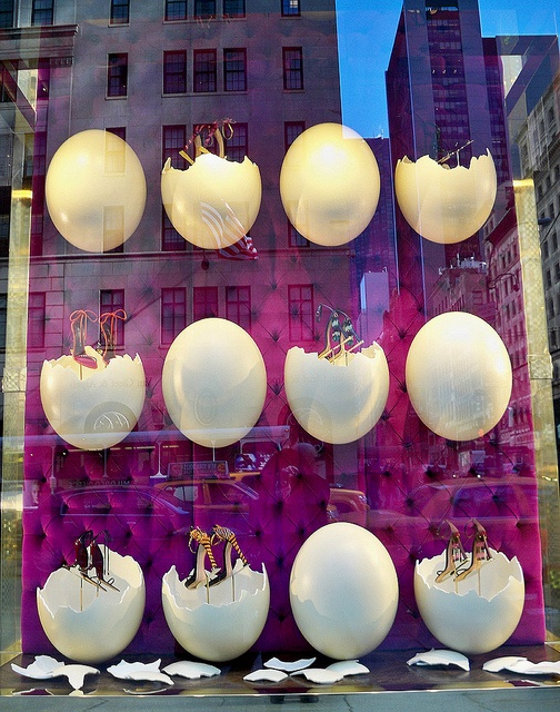 Louis Vuitton shoes are Born This Way - Louis Vuitton window display on Fifth Avenue.