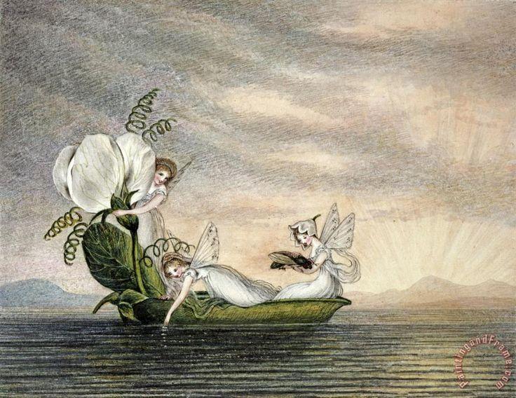 Fairies Floating Downstream in a Peapod  - Amelia Jane Murray