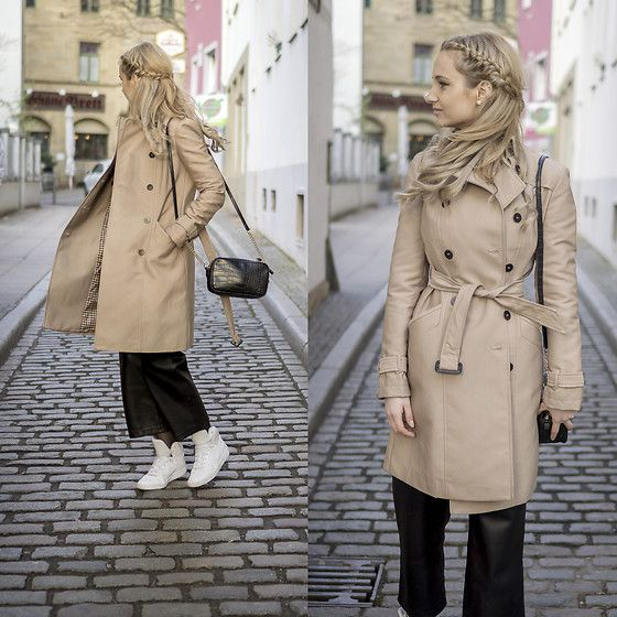 Get this look: http://lb.nu/look/8622817  More looks by Adriana M.: http://lb.nu/lilicons  Items in this look:  Zara Beige Trench Coat, Mango Small Bag, Nike White Sneakers, Mango Leather Pants   #casual #minimal #street #streetstyle #lookbook #lookbooker #today #outfit #blogger