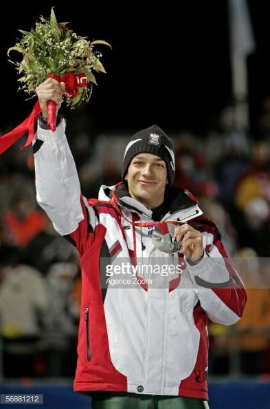 Andreas Kofler of Austria celebrates his silver medal in the Large Hill Individual Ski Jumping Final on Day 8 of the 2006 Turin Winter Olympic Games...
