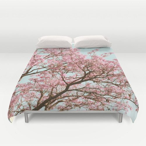 Cherry Blossom Duvet, Pink Tree Duvet, Mint Blue Duvet, Romantic Bedding, Nature Duvet, Tree Duvet Cover, Cottage Chic Duvet, Shabby Chic by mayaredphotography. Explore more products on http://mayaredphotography.etsy.com