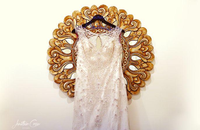 Details on Karelina Sposa wedding dress. Dreams Tulum Destination Wedding by Jonathan Cossu Photographer